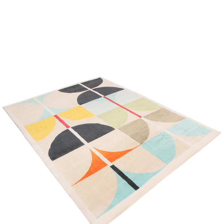 Hand knotted in high-quality wool pile this geometric rug hails from the latest additions to the Mid-Century Modern collection by Rug & Kilim, refined over four years perfecting a new approach to unique large scale graph, texture, and color.