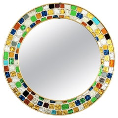 Spanish Midcentury Mosaic Round Mirror with Multicolor Art Glass Tile Frame