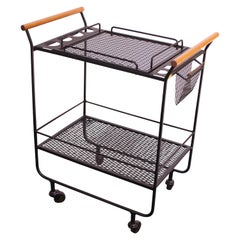 Mid-Century Modern Iron and Maple Bar Cart / Tea Trolley