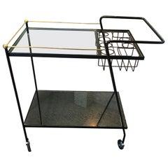 Mid-Century Modern Iron Bar Cart