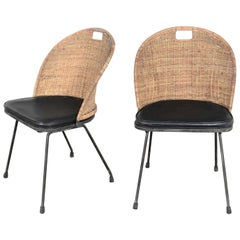 Mid-Century Modern Iron and Wicker Pair Neva-Rust Chairs Tempestini & Salterini