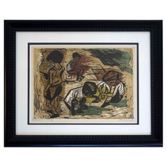 Mid-Century Modern Irving Amen Signed Shadow 1952 Color Lithograph 29/50 Framed