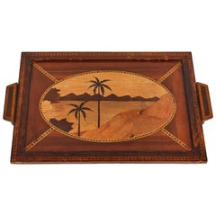 Mid-Century Modern Island Themed Inlaid Mahogany Serving Tray