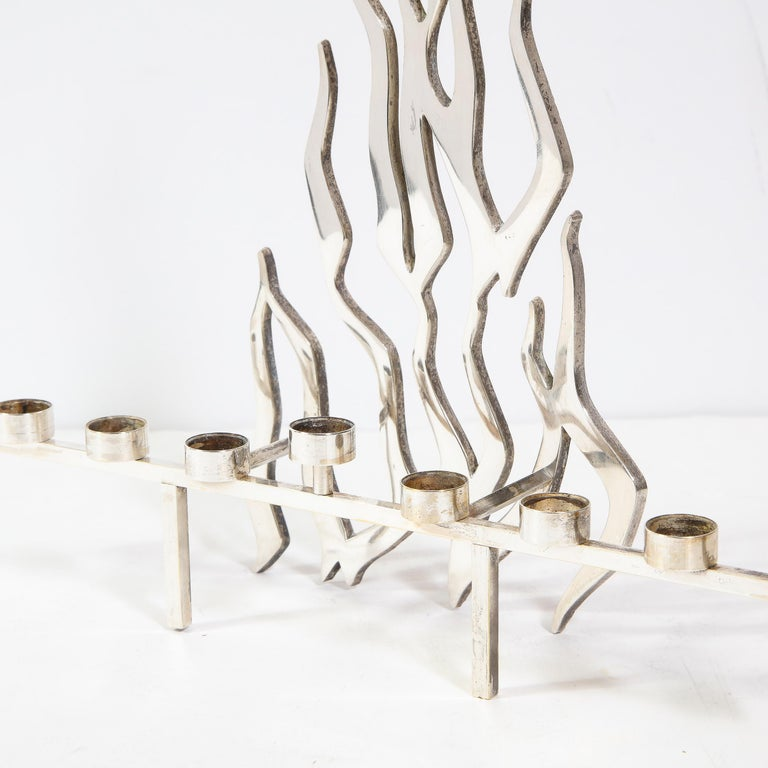 Late 20th Century Mid-Century Modern Israeli Brutalist Stylized Flame Silver Plate Menorah For Sale