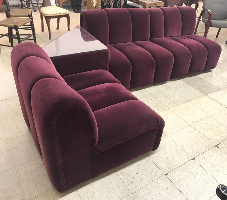 Mid-Century Modern Italia Italy Burgundy Velvet Modular Channel Sofa Sectional In Good Condition For Sale In West Hartford, CT