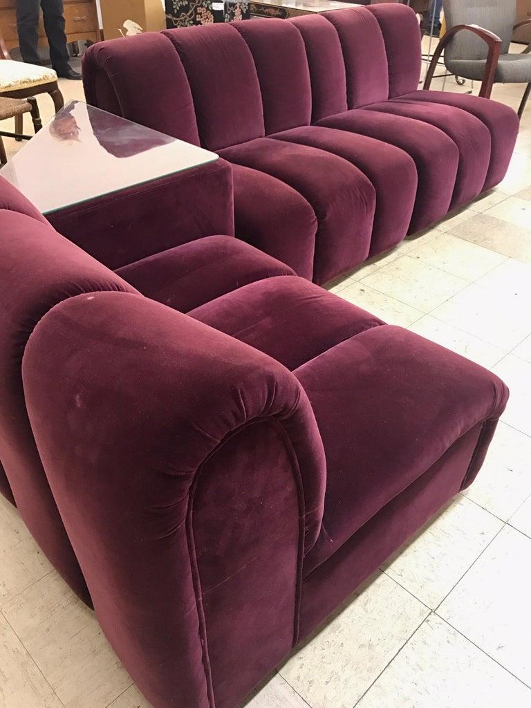 Mid Century Modern Italia Italy Burgundy Velvet Modular