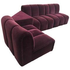 Mid-Century Modern Italia Italy Burgundy Velvet Modular Channel Sofa Sectional