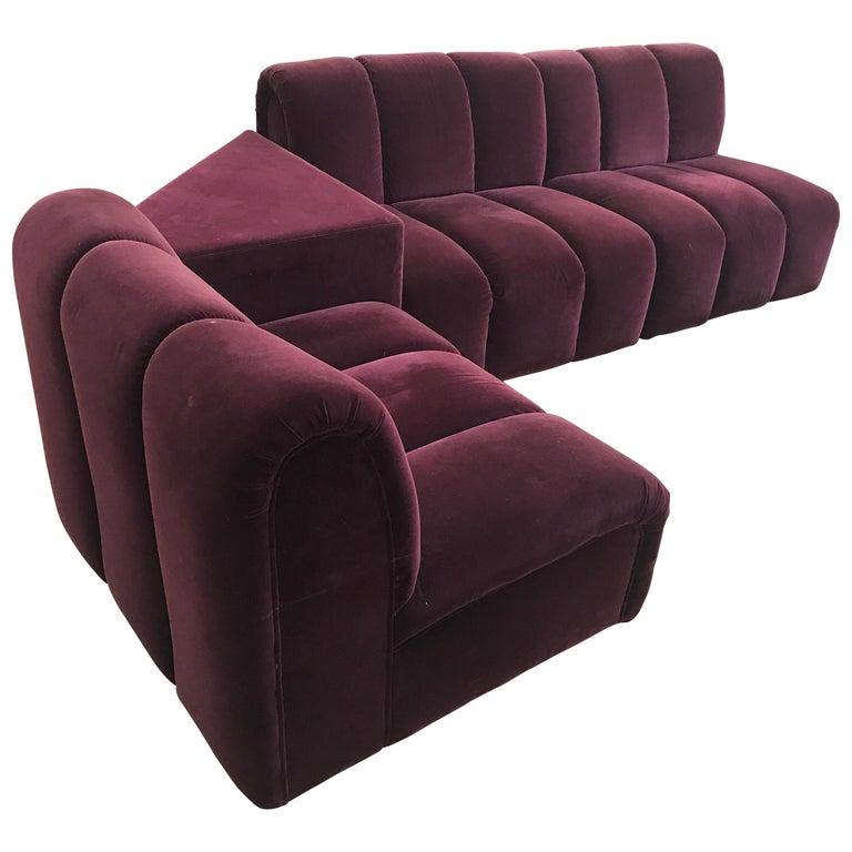 Mid Century Modern Italia Italy Burgundy Velvet Modular Channel Sofa