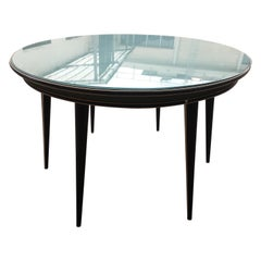 Mid-Century Modern Italia Round Table with Glass Top by Umberto Mascagni, 1960s