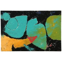 Mid-Century Modern Italian Abstract Painting on Paper with Wooden Structure