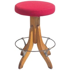 Mid-Century Modern Italian Adjustable Stool Tripode Wood Base with Red Round Top