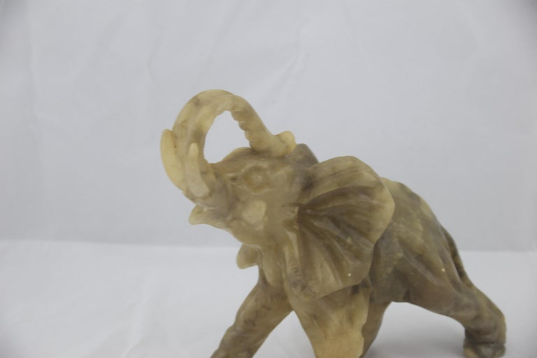 Mid-Century Modern Italian Alabaster Elephant Sculpture, 1970s In Excellent Condition For Sale In Byron Bay, NSW