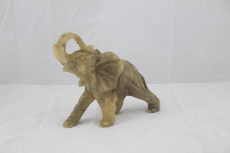 Late 20th Century Mid-Century Modern Italian Alabaster Elephant Sculpture, 1970s For Sale