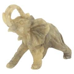 Mid-Century Modern Italian Alabaster Elephant Sculpture, 1970s