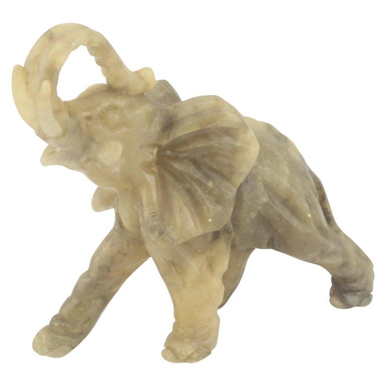 Mid-Century Modern Italian Alabaster Elephant Sculpture, 1970s For Sale