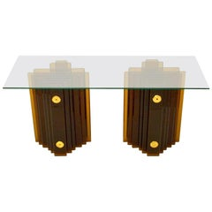Mid-Century Modern Italian Amber Glass Console Table by Cristal Arte