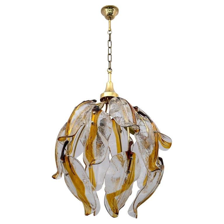 Mid-Century Modern Italian Amber Murano Glass and Brass Chandelier, 1970s For Sale