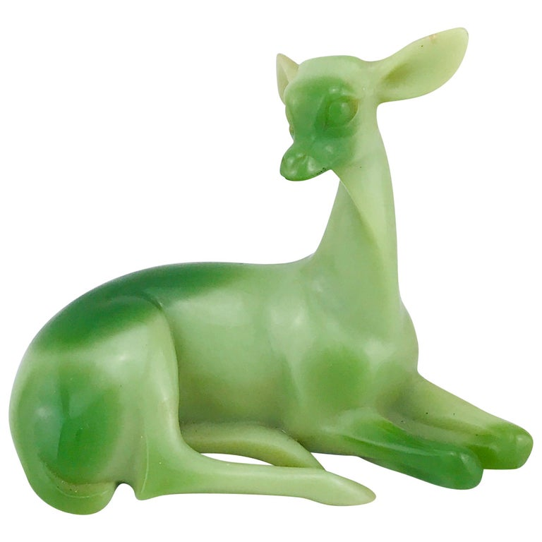 Mid-Century Modern Italian Animal Sculpture in Green Resin of a Deer, 1960s For Sale