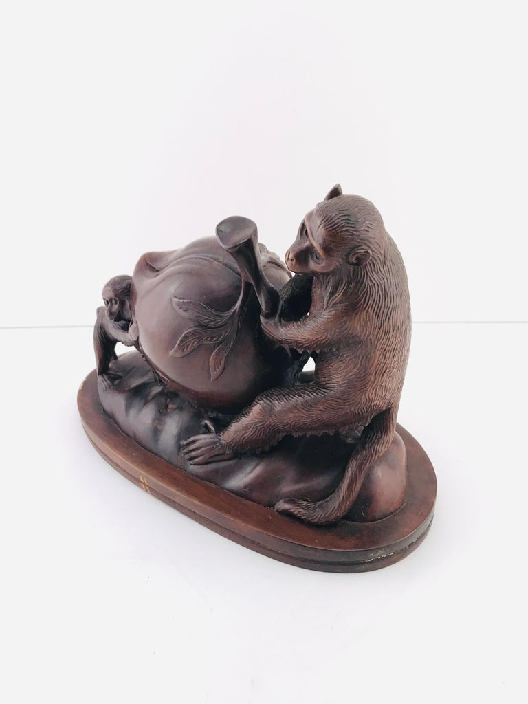 Mid-Century Modern Italian Animals Sculpture in Walnut Timber, 1960s In Good Condition For Sale In Byron Bay, NSW