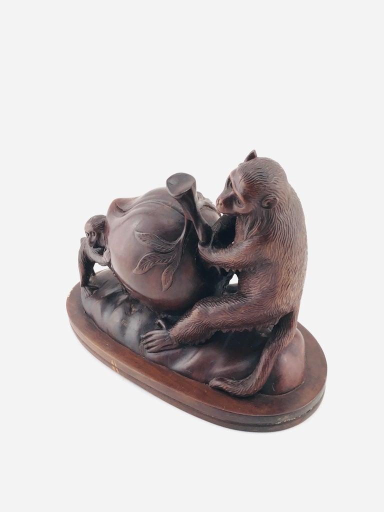 Mid-20th Century Mid-Century Modern Italian Animals Sculpture in Walnut Timber, 1960s For Sale