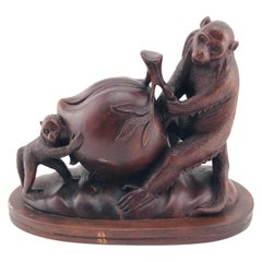 Mid-Century Modern Italian Animals Sculpture in Walnut Timber, 1960s