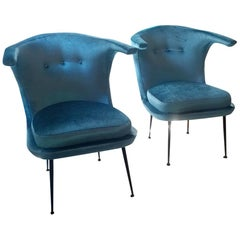 Mid-Century Modern Italian Armchairs with Blue Velvet Cover, Tuscany, 1960s