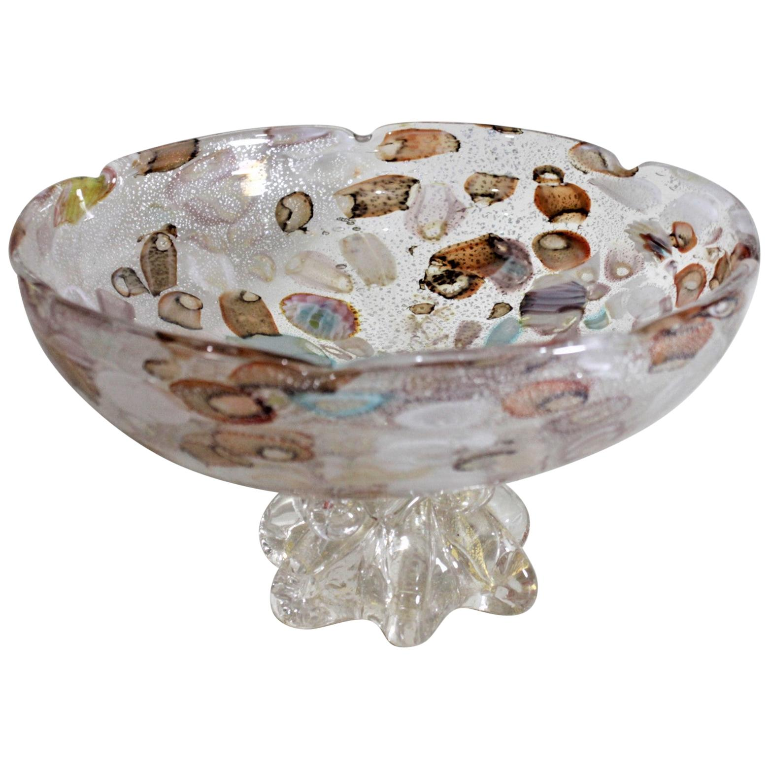 Mid-Century Modern Italian Art Glass Pedestal Bowl or Centerpiece