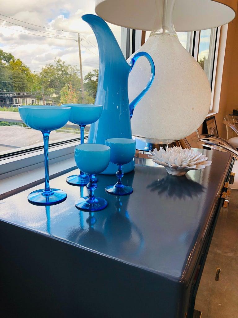 Mid-Century Modern Italian Azure Blue over White Cased Venetian Glass Pitcher For Sale 7