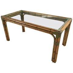 Mid-Century Modern Italian Bamboo and Leather Dining Table with Glass Top, 1970s