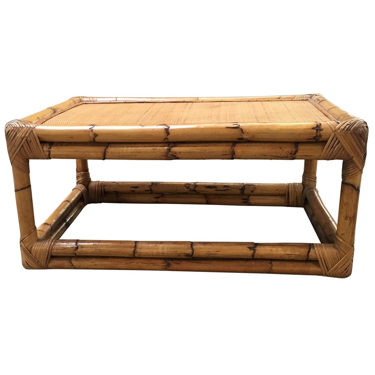 Modern Bamboo Coffee Table: Mid-Century Modern Italian Bamboo And Rattan Coffee Table