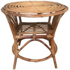 Mid-Century Modern Italian Bamboo and Rattan Side Table, 1960s