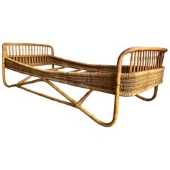 Mid-Century Modern Italian Bamboo and Rattan Sofa or Day Bed, 1960s