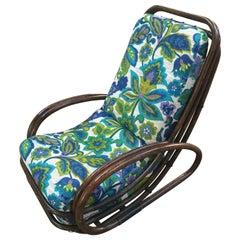 Mid-Century Modern Italian Bamboo Armchair with Floral Cushion, 1970s