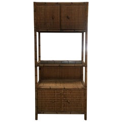 Mid-Century Modern Italian Bamboo Cabinet with Shutters and Shelf, 1970s