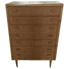 Mid-Century Modern Italian Bamboo Chest of Drawers. 1970s