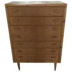 Mid-Century Modern Italian Bamboo Chest of Drawers, 1970s