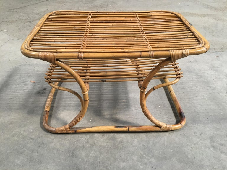 Mid-Century Modern Italian Bamboo Coffee or Side Table, 1960s In Good Condition For Sale In Prato, IT