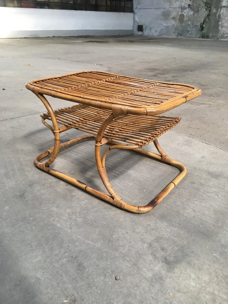 Mid-Century Modern Italian Bamboo Coffee or Side Table, 1960s For Sale 1