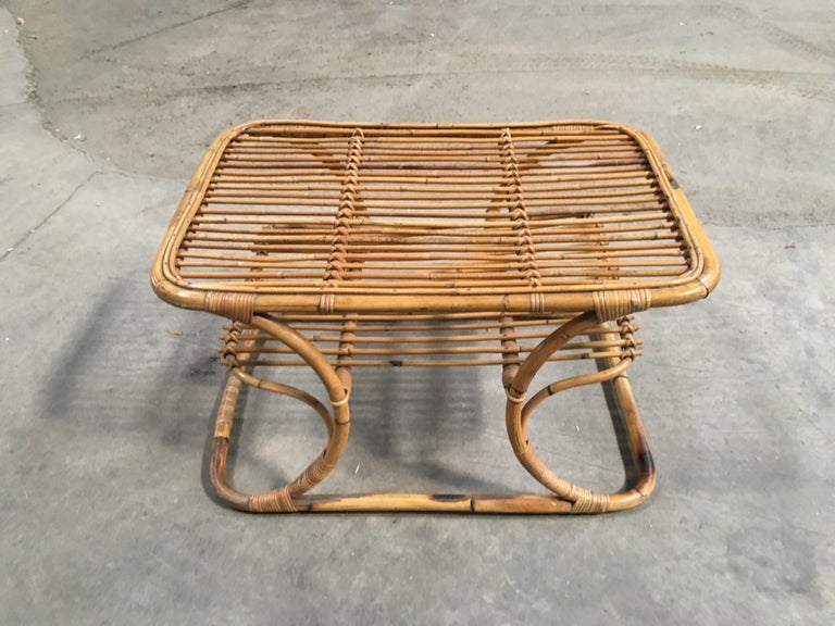 Mid-Century Modern Italian Bamboo Coffee or Side Table, 1960s For Sale 2