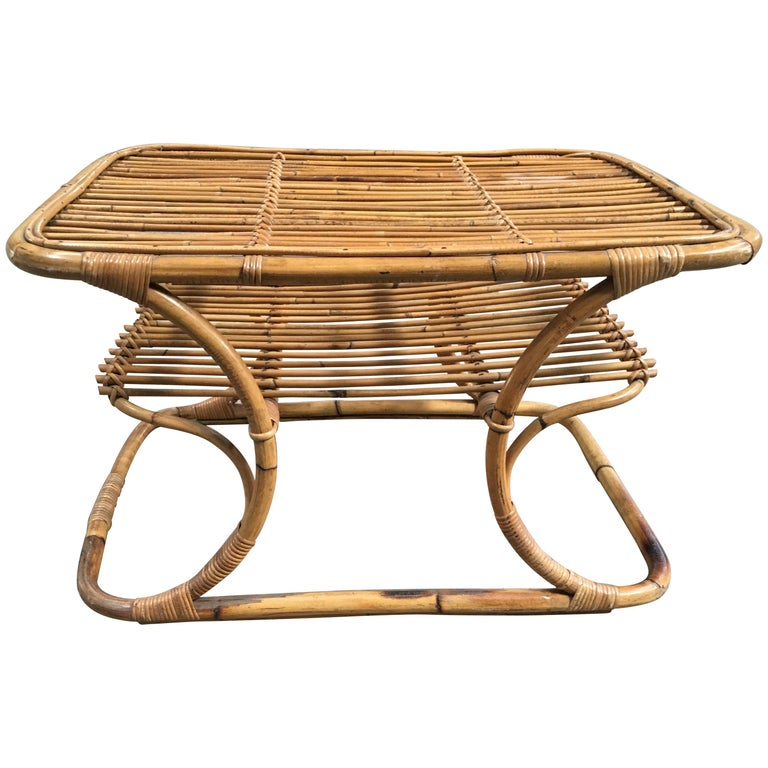 Modern Bamboo Coffee Table: Mid-Century Modern Italian Bamboo Coffee Table By Tito