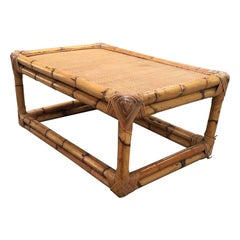 Mid-Century Modern Italian Bamboo Coffee Table by Vivai del Sud, 1970s