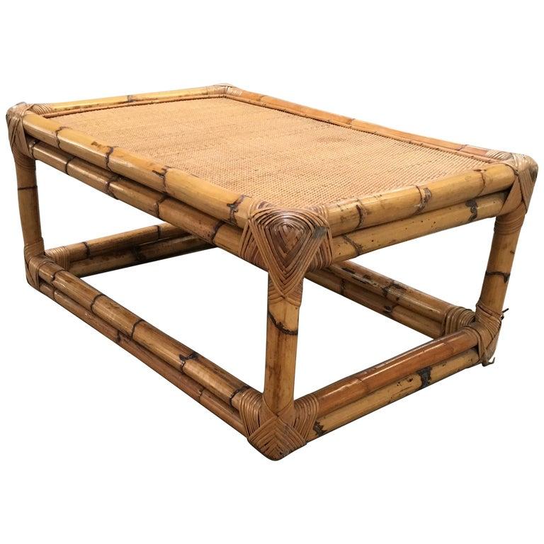 Modern Bamboo Coffee Table: Mid-Century Modern Italian Bamboo Coffee Table By Vivai