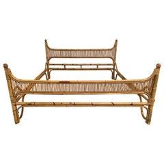 Mid-Century Modern Italian Bamboo Double Bed Frame, 1970s