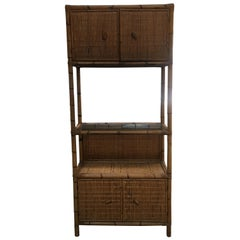 Mid-Century Modern Italian Bamboo Étagère with Shutters and Shelf, 1970s