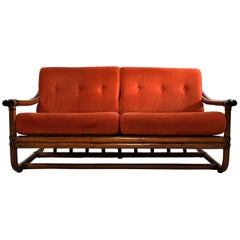 Mid-Century Modern Italian Rattan Orange Sofa