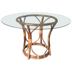 Mid-Century Modern Italian Bamboo Round Table with Glass Top, 1970s