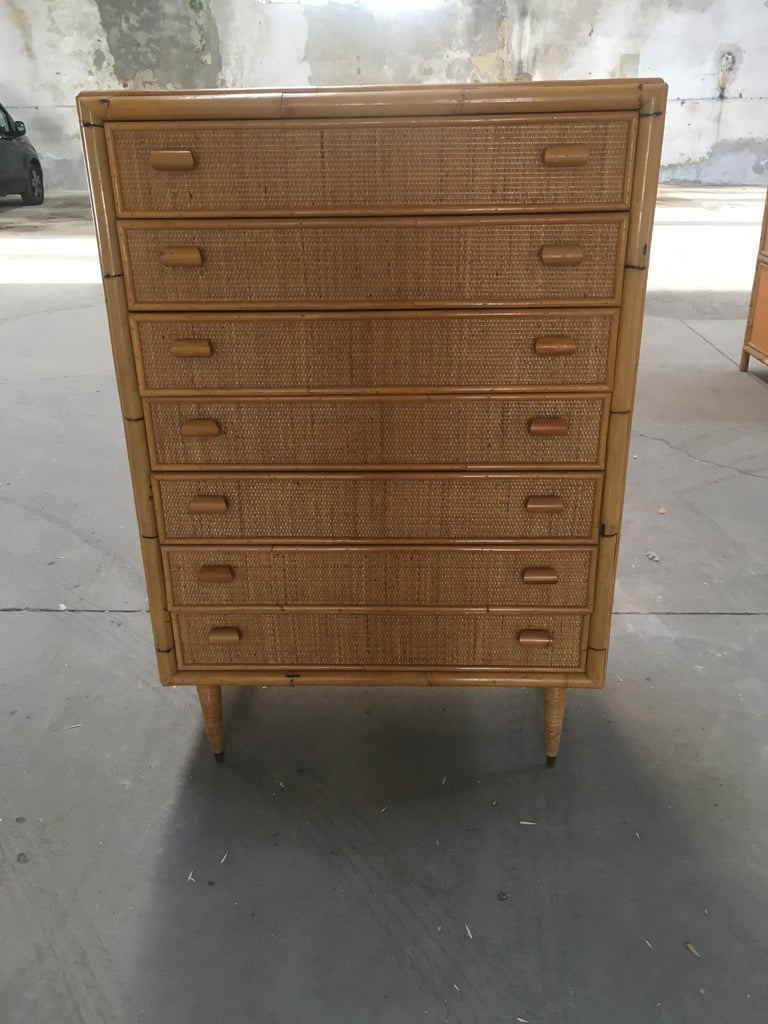 Mid-Century Modern Italian Bamboo 'Settimino' or Chest of Drawers from 1970s In Good Condition For Sale In Prato, IT