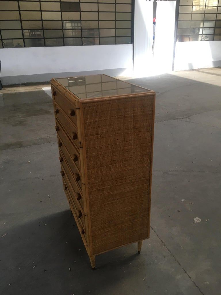 Late 20th Century Mid-Century Modern Italian Bamboo 'Settimino' or Chest of Drawers from 1970s For Sale