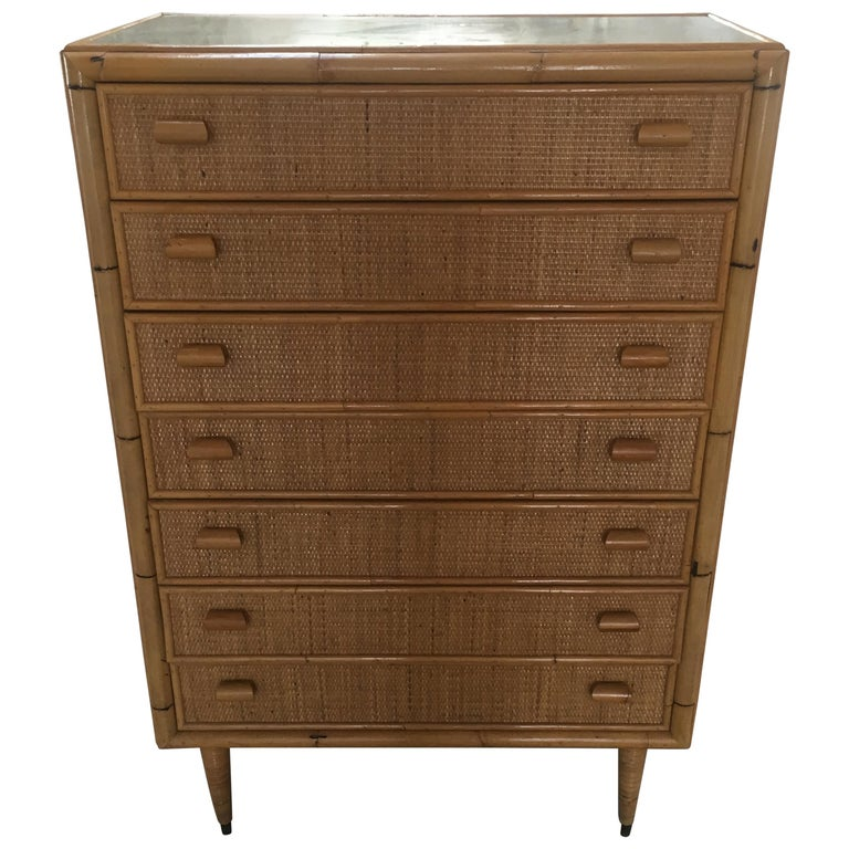 Mid-Century Modern Italian Bamboo 'Settimino' or Chest of Drawers from 1970s For Sale