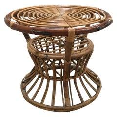 Mid-Century Modern Italian Bamboo Side Table, 1950s